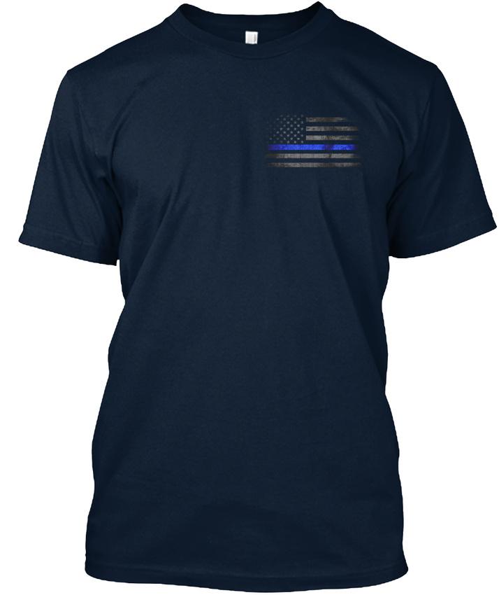 Distressed-Thin-Blue-Line-Flag-Premium-Tee-T-Shirt thumbnail 8