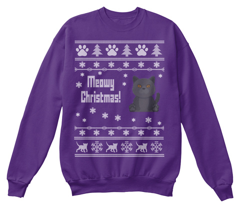 Cat Christmas Sweater.Chartreux Cat Christmas Sweater Knit Uk