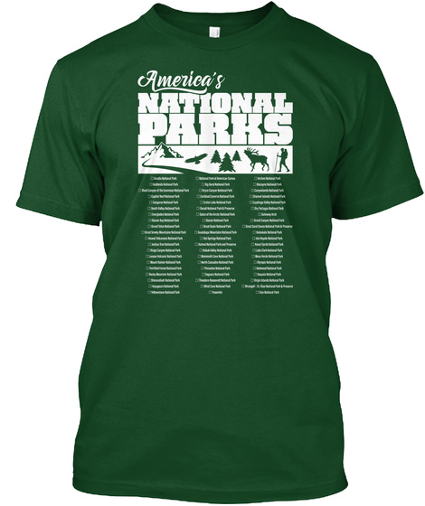 America's 60 National Parks List Deep Forest T-Shirt Front