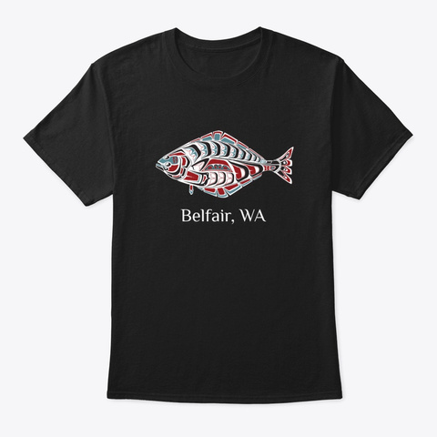 Belfair, Wa Halibut Pnw Native American Black T-Shirt Front