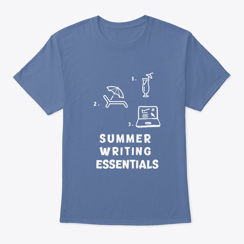 Summer Writing Essentials Writers Tee Denim Blue T-Shirt Front