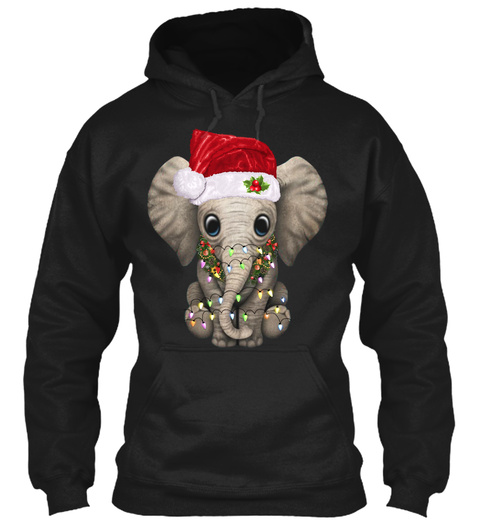 Cute Elephant Santa Hat Christmas Lights Black T-Shirt Front