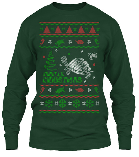 Turtle Christmas Forest Green Long Sleeve T-Shirt Front