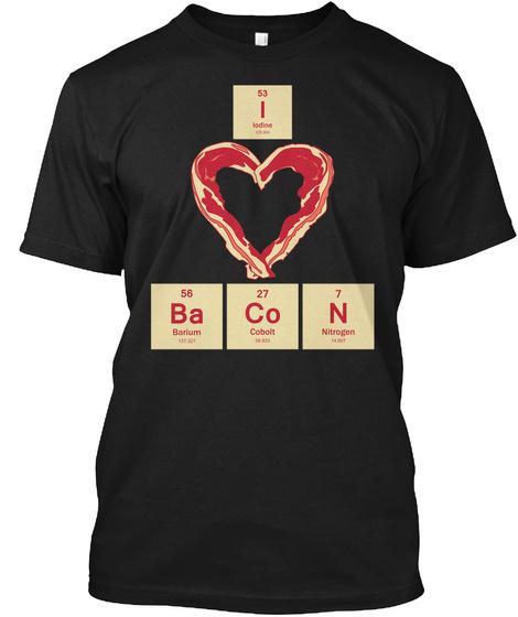 I Ba Co N Iodine Barium Cobalt Nitrogen 53 56 27 7 Black T-Shirt Front