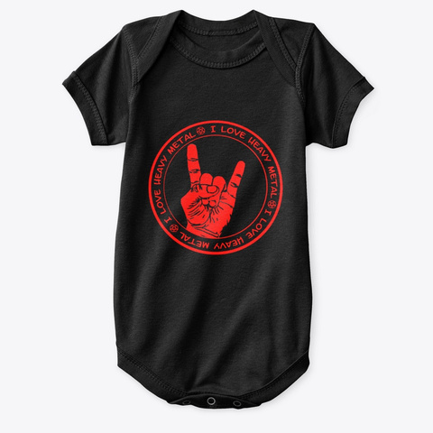 I Love Heavy Metal Kids Black T-Shirt Front