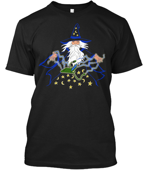 Computer Wizard In Blue Black T-Shirt Front