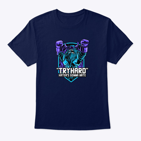 """Rpg; """"Tryhard"""" Navy T-Shirt Front"""
