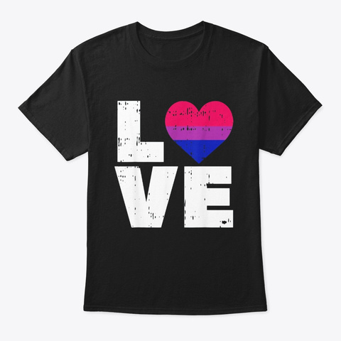 Love Vintage Heart Lgbt Bisexual Colors Black T-Shirt Front