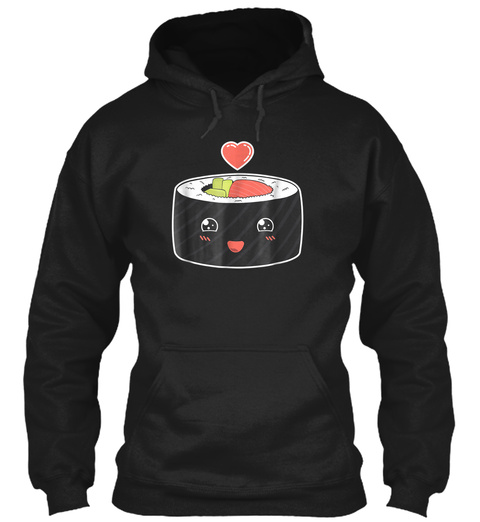 Sushi Roll Love Cute Foodie Retro Vintag Black T-Shirt Front