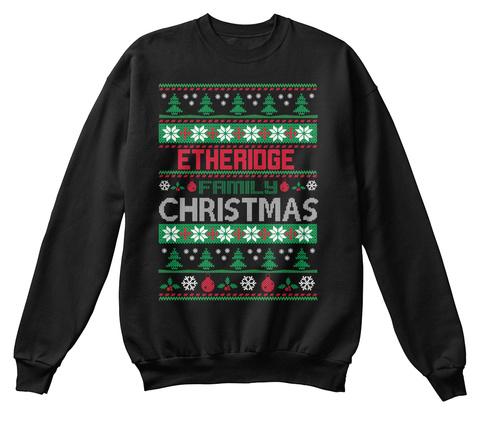 Etheridge Family Christmas Black T-Shirt Front