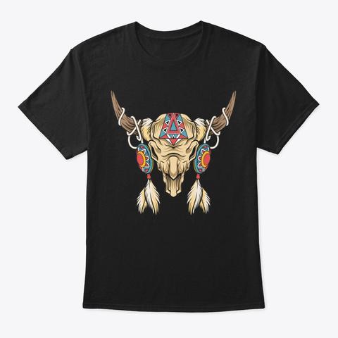 Native American Skull Shirt Black T-Shirt Front