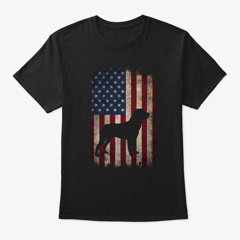 America Flag Usa Lover Dog Lover T Shirt Black T-Shirt Front