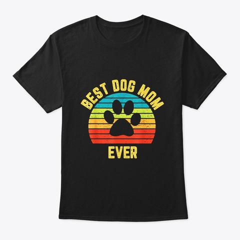 Vintage Dog Mom Dog Mom Mother Black T-Shirt Front