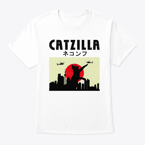 Funny Cat Lovers Japanese Catzilla Hilar White T-Shirt Front