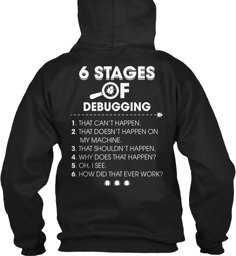 Trust Me Im A Programmer 6 Stages Of Debugging 1. That Can't Happen. 2.That Doesn't Happen On My Machine. 3.That... Black Sweatshirt Back
