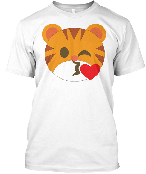 Tiger Emoji Flirting And Blowing Kiss White T-Shirt Front