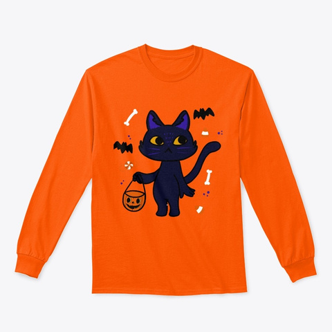Simple Black Cat Trick Or Treating  Safety Orange T-Shirt Front