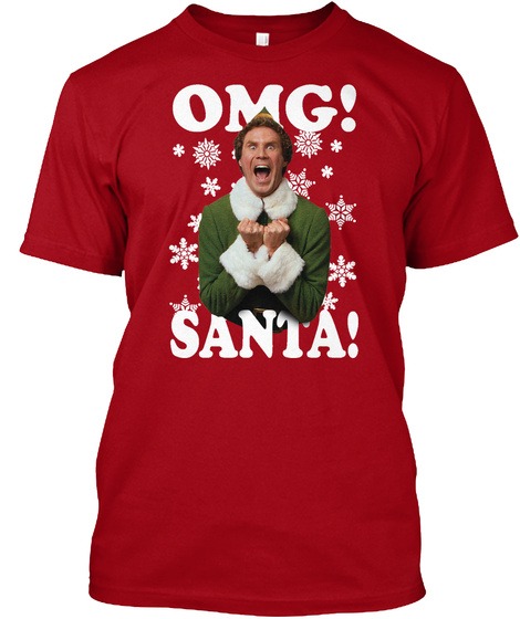 Omg Santa   Chrismas Deep Red T-Shirt Front