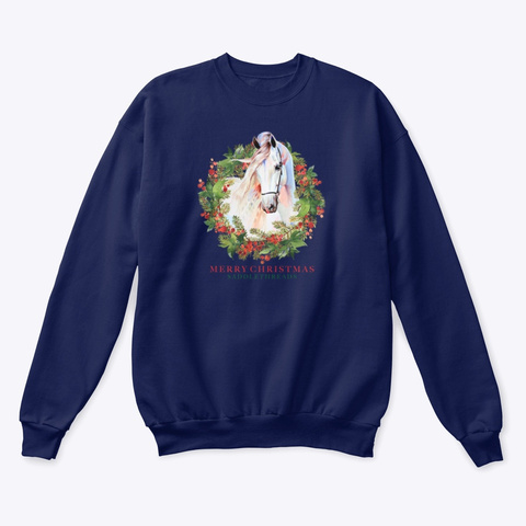 Saddlethreads Christmas Horse & Wreath Navy  T-Shirt Front