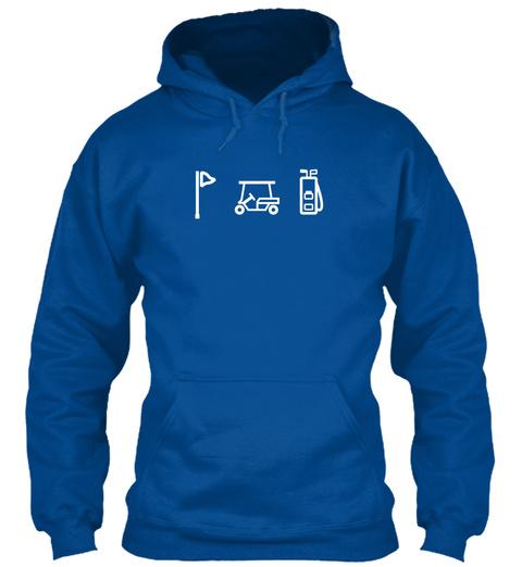 Hoodie Golf Cart Clubs Flag Sports Royal T-Shirt Front