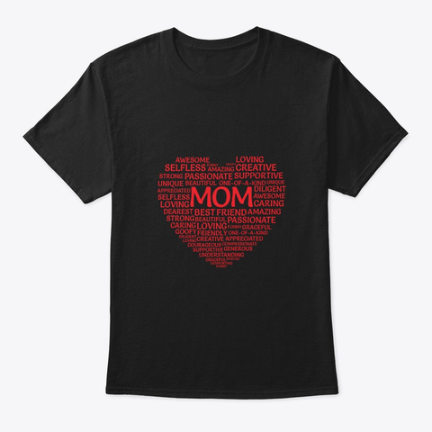 Mom Jumbled Heart Mothers Day Black Maglietta Front