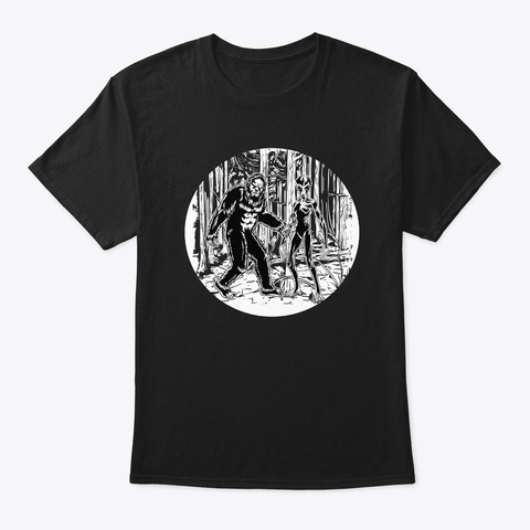 Bigfoot And Alien Circle Graphic Black T-Shirt Front