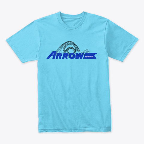 Arrow Dynamics Corkscrews  Tahiti Blue T-Shirt Front