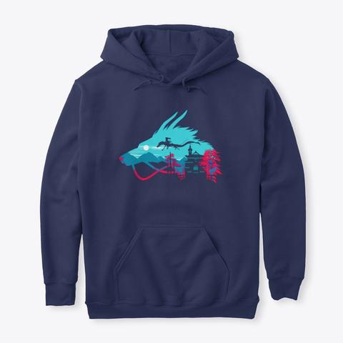 Haku Dragon Spirited Away Navy T-Shirt Front