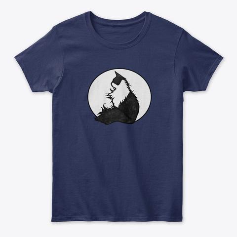 Tuxedo Cat  Navy T-Shirt Front