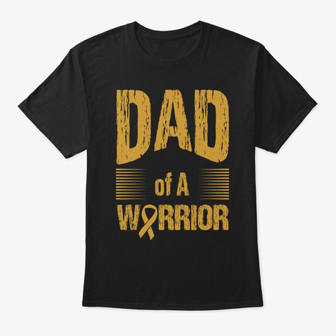Childhood Cancer Dad Of Warrior Autism Black T-Shirt Front