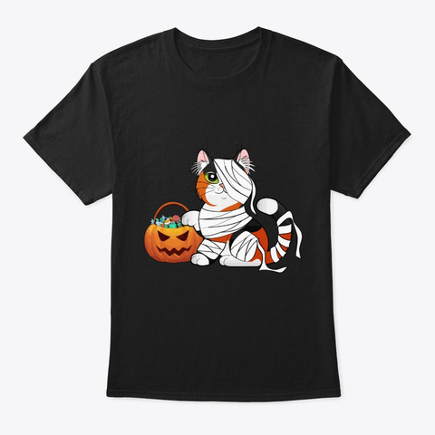 Cat Costume Mummy Halloween Gift Black T-Shirt Front