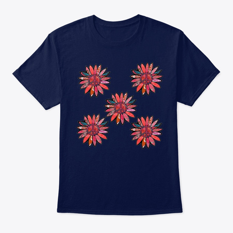 Pink Tile Peace Sign Flower  Navy T-Shirt Front