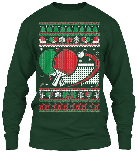 Table Tennis Ugly Christmas Forest Green Long Sleeve T-Shirt Front