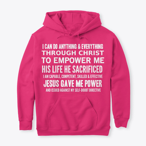 Christian Poems on pink Hoodie for Christian Women by Anna Szabo #52Devotionals  I am Powerful in Christ