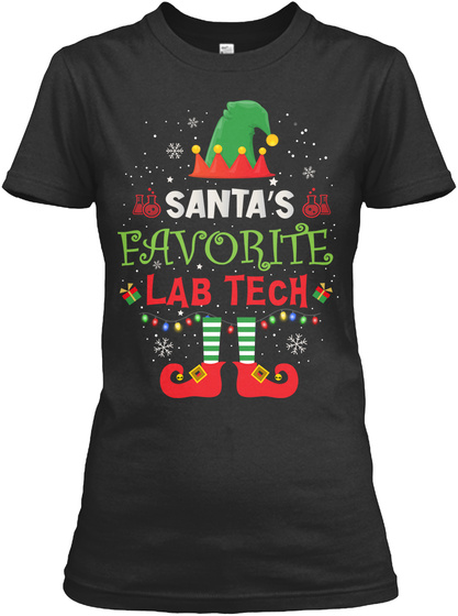 Santa's Favorite Lab Tech Black T-Shirt Front