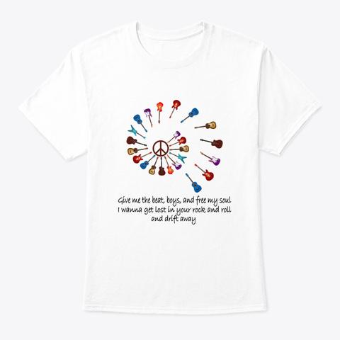 Flower Children Guitar Hippie Costume White T-Shirt Front