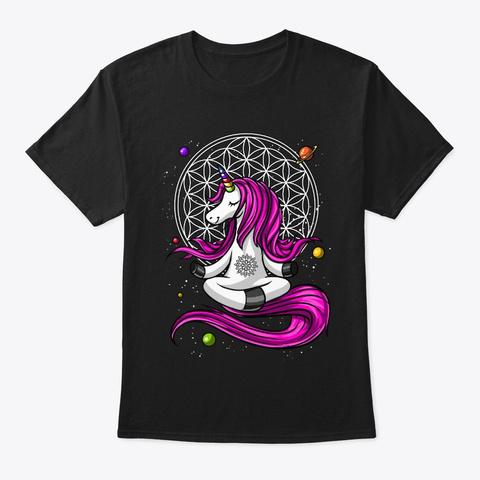 Unicorn  Zen Yoga Black T-Shirt Front