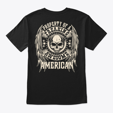 Awesome American Shirt Black T-Shirt Back