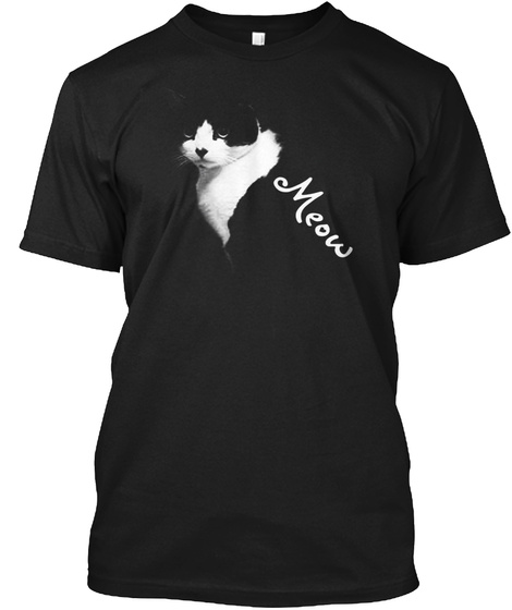 3d Black Cat Meow  T Shirt Black T-Shirt Front