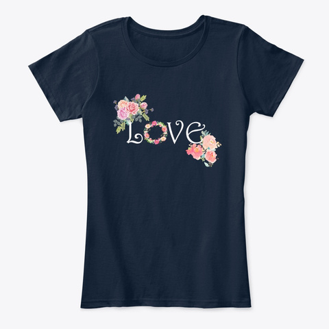Love Floral New Navy T-Shirt Front