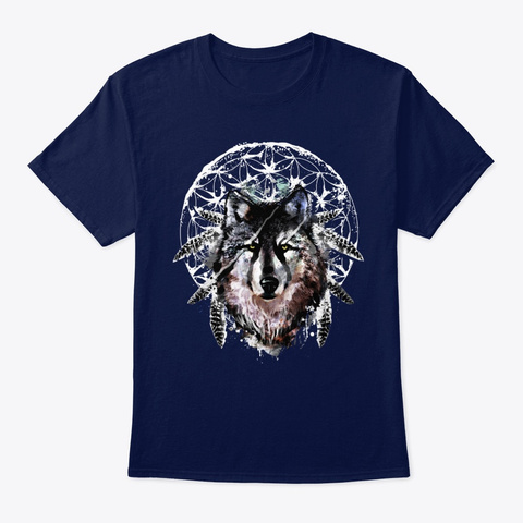 Watercolor Wolf Navy T-Shirt Front