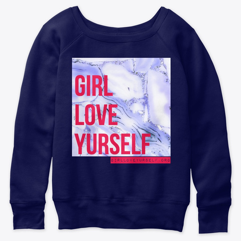 Girl, Love Yourself (Blue Marble) Navy  T-Shirt Front