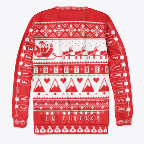 Official La Fintech Ugly Sweater Red T-Shirt Back