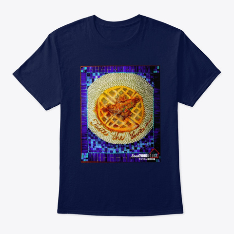 Chicken And Waffles Navy T-Shirt Front