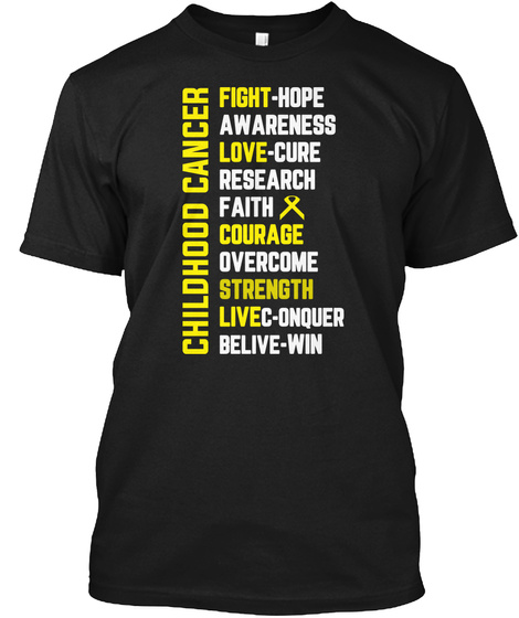 Childhood Cancer Awareness Shirts With L Black T-Shirt Front