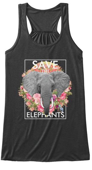 Save The Elephants Dark Grey Heather Women's Tank Top Front