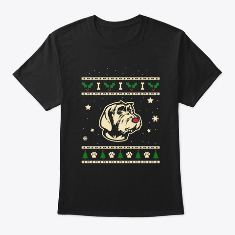 Xmas Wirehaired Pointing Griffon Gift Black T-Shirt Front