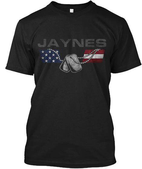 Jaynes Family Honors Veterans Black T-Shirt Front