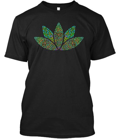 Lotus Flower Yoga Meditation T Shirt Black T-Shirt Front