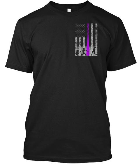 Patriotic Softball Flag W/ Purple Bat Black T-Shirt Front